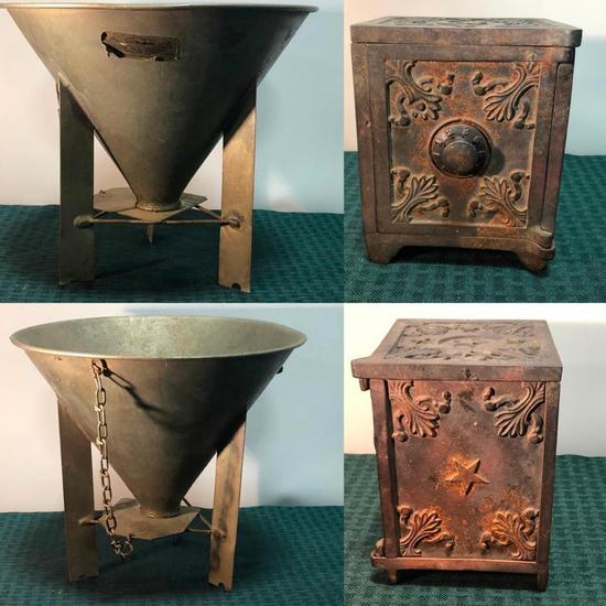 Cast Iron Still Bank and Possible Salesman Sample Seedburo Qality Gravity Fed Farm Bin c. 1912
