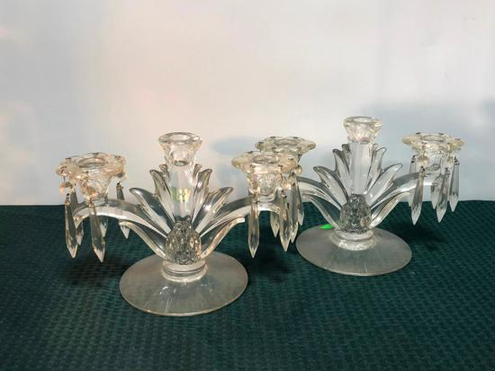 Cambridge Glass Candle Holders w/ Prisms, One Damaged