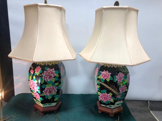 Matching Oriental Table Lamps