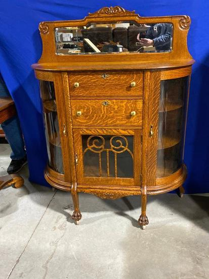 Rare Oak Antique Curved Glass Mirrored Buffet w/ Key, 53in x 40in x 16in