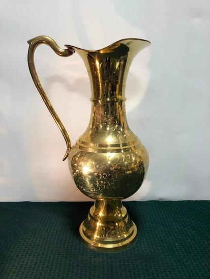 Heavy Decorated Brass Pitcher, Solid Brass