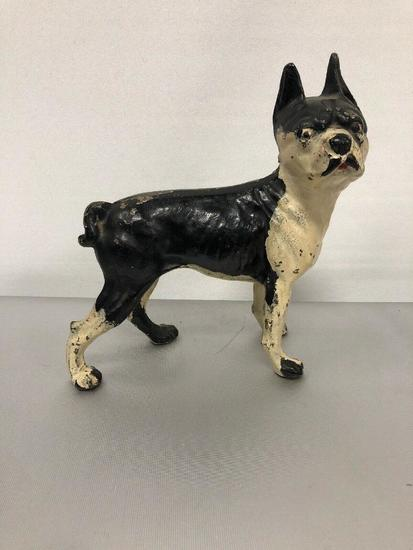 ANTIQUE HUBLEY Boston Terrier CAST IRON DOG HOME ART STATUE SCULPTURE DOORSTOP. 10in x 10in x 5in