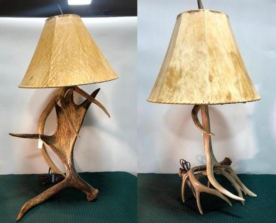 Lot of 2 Stag Antler Table Lamps
