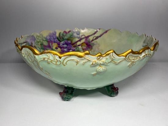 Large T&V Limoges France Hand Painted Footed Bowl, 14.5in Wide, 6.5in Tall