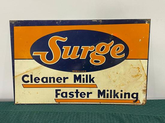 Surge, Cleaner Milk, Faster Milking - Tin Sign, SST 19in x 12in