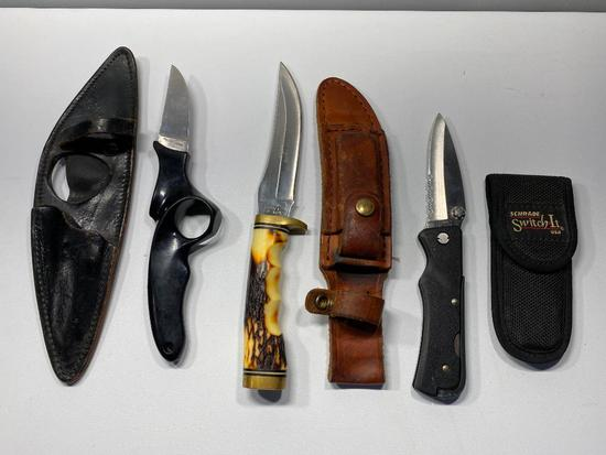 Lot of 3 Knives, 2 Schrade, 1 Japan