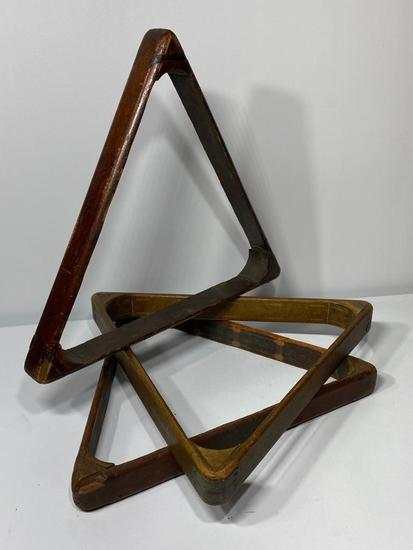 Lot of 3, Antique Billiards Racks, Pool Ball Triangle, Wooden and Brass