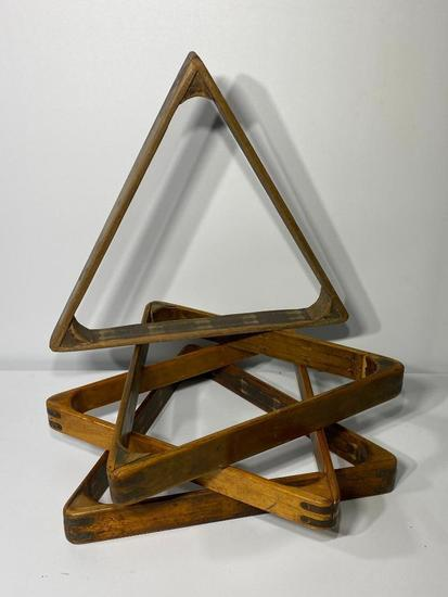 Lot of 4, Antique Billiards Racks, Pool Ball Triangle, Wooden and Brass