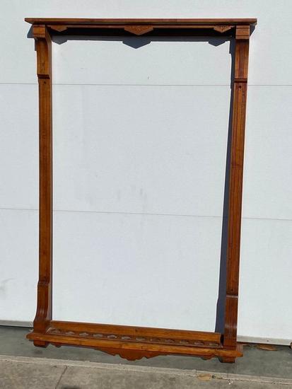 Antique Wooden Eastlake Style Brunswick, Balke, Collender Pool Cue Rack Approx. 36in x 56in