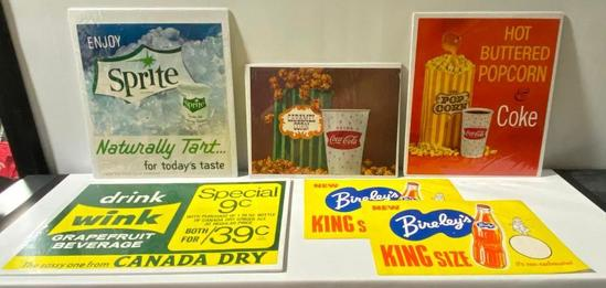 Lot of 6, NOS Soda Fountain Paper Litho Advertisements, Coke, Sprite, Wink, Bireley's +