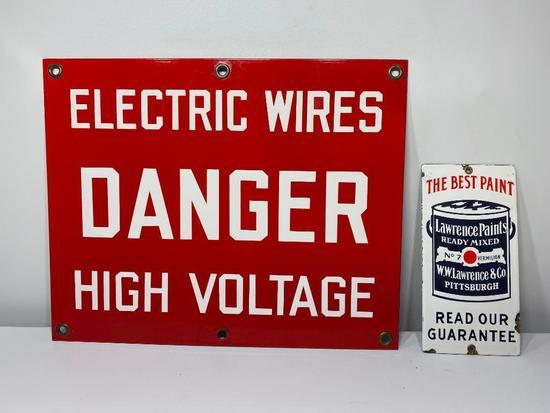 Lot of 2 Porcelain Signs, Danger Electric Wires High Voltage, Laurence Paints, SSP