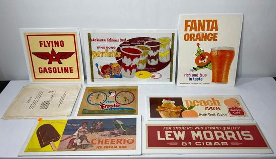Lot of 9, NOS Paper Litho Soda Fountain & Cigar Store & Gas Advertisements