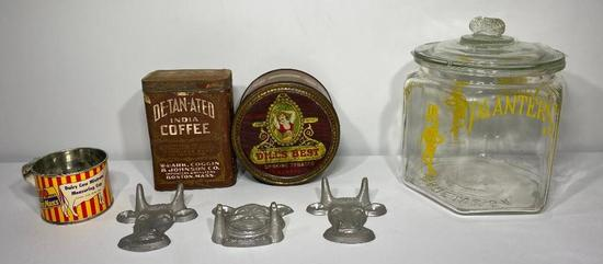 Lot of 7 Misc Advertising Pieces, 2 Tins, Coffee, Dills Best Tobacco, 4 MoorMan Pieces, Planters Jar