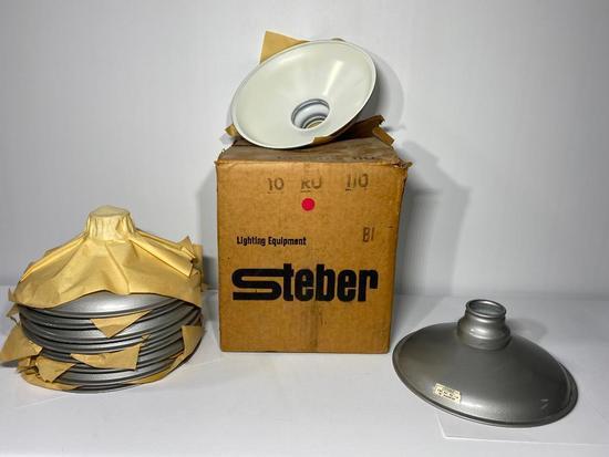 Lot of 10 NOS Steber Porcelain Gas Station Light Shades, 10in Wide, Never Used