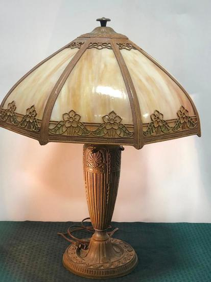 Eight Panel Slag Glass Table Lamp, Two Pull, Antique