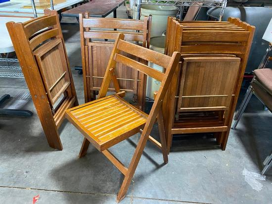 Lot of 11 Antique Wooden Folding Chairs from Local Christian Church in Council Bluffs, IA