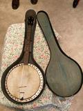 Antique Banjo w/ Fancy Inlays and Case