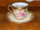 Rare Antique Hand Painted Left Handed Porcelain Mustache Cup and Saucer