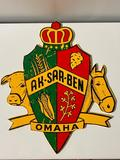 Aksarben Omaha Crest Sign on Masonite, Pretty Hard to Find, VG Condition, 16in x 18in