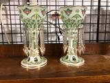 Antique Cut to Green Candle Lusters, Matching Pair