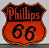 Phillips 66 Porcelain Sign, Shield 48in, DSP Double Sided, VERIBRITE SIGNS CHICAGO