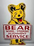 Die Cut DSP Bear Wheel - Steering Alignment Service Sign, Porcelain, Double Sided 20in x 13.5