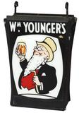 Wm. Younger's Brewery Trade Sign, DSM hanging sign w/plastic inserts, VG+ cond, 40in x 25.5in