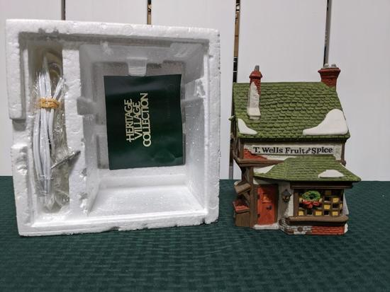 Dickens Village Series-Department 56 -T. Wells Fruit And Spice Shop (The Heritage Village Collection