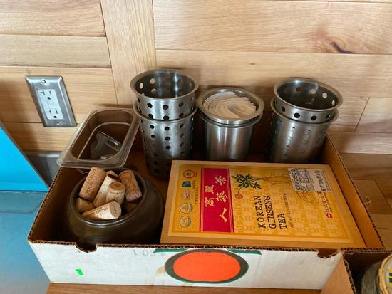 Stainless Steel Silverware Caddys, Ginseng Tea, Corks, Plastic Pan