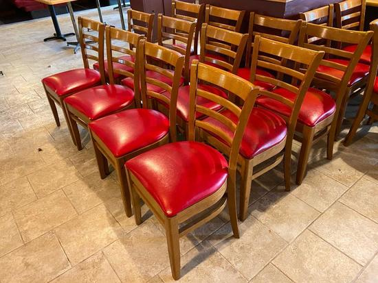 Lot of 12 Wooden Ladder Back Restaurant Chairs w/ Padded Red Vinyl Seat Cushions