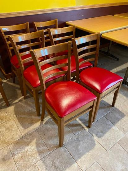 Lot of 6 Wooden Ladder Back Restaurant Chairs w/ Padded Red Vinyl Seat Cushions