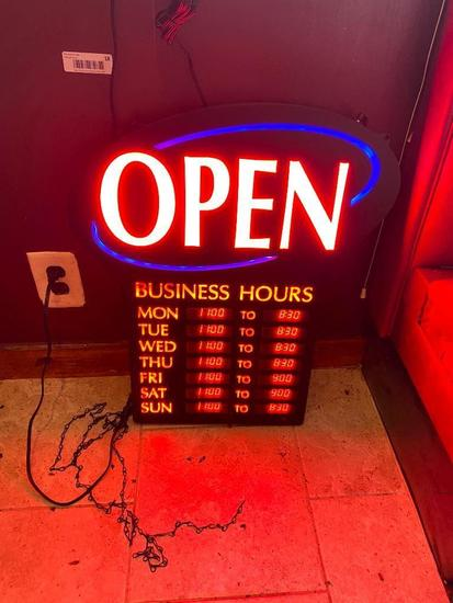 LED Open Sign w/ Days of Week Hours Listed