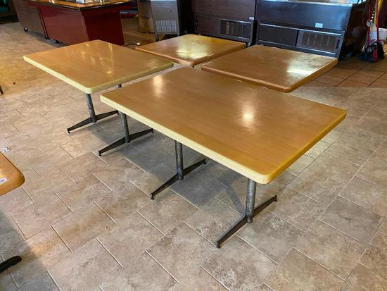 Lot of 4 Restaurant Tables, Wooden Tops w/ Pedestal Base, 30in x 30in & 48in x 30in, 29in H