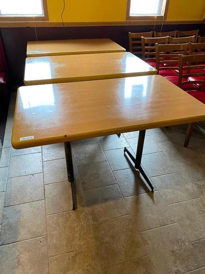 Lot of 3 Restaurant Tables, Wooden Tops w/ Pedestal Base, 48in x 30in x 29in H