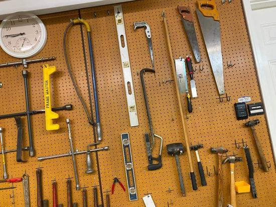 Large Group of Tools, Drain Snake, 6 Saws, 5 Hammers, 3 Lug Wrenchs and 3 Levels