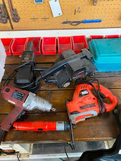 "Lot of 5 Tools, 1/2"" Impact Wrench, Craftsman 3.21"" Belt Sander, B&D Sander and Polisher, and B&D"