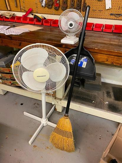 Broom and Dust Pan with Floor Fan and Table Fan