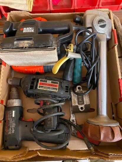 Box of Tools, Carpet Kicker, Magnets, Elecctric Drill, Electric Sander, Key Hole Saw and More