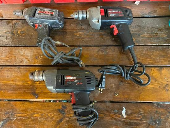 "Lot of 3 Craftsman Power Tools, Drill 3/8"", 1/2"" and 1/2"" Hammer Drill"