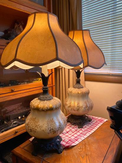 Lot of 2 Electric Antique Table Lamps