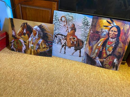 Large Stack of SW/Native American Theme Puzzles Glued to Backer Board