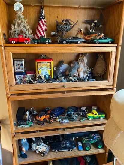 Contents of Cabinet: Die Cast Cars, Toys, Figurines, Misc.