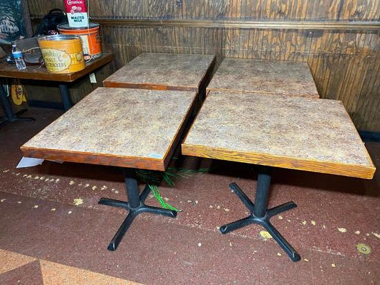 Restaurant Tables, Laminate Top, Iron Pedestal Base, 29in x 29in x 33in - 4 x's $