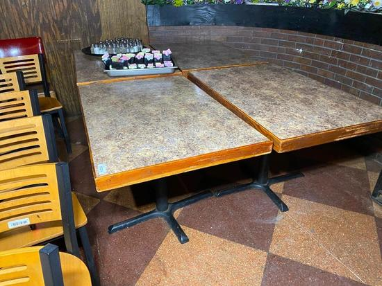 Restaurant Tables, Laminate Top, Iron Pedestal Base, 29in x 29in x 45in - 4 x's $