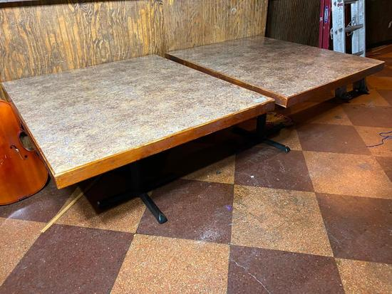 Restaurant Tables, Laminate Top, Iron Pedestal Base, 29in x 50in x 44in - 2x's $