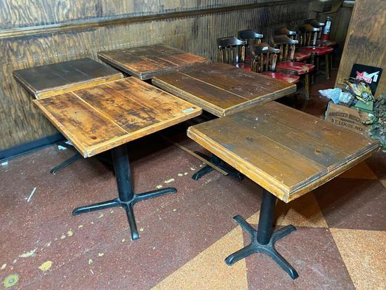 Lot of 5 Misc. Restaurant Tables , Wooden Top, Iron Pedestal Base