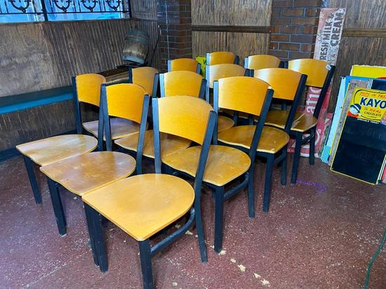 Restaurant Chairs, Wooden Back/Seat, Iron Frame, 12 x's $