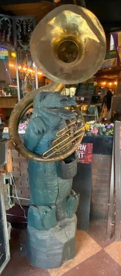 Large Life Size Alligator Statue Playing Music Instrument