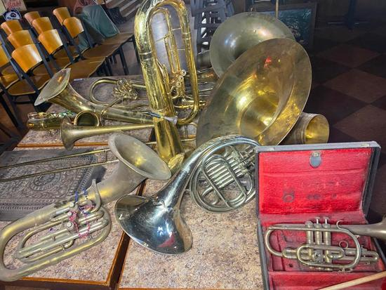 Large Lot of Brass Music Instrument Pcs