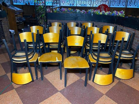 Restaurant Chairs, Wooden Back/Seat, Iron Frame, 24 x's $